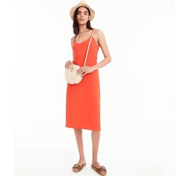 J Crew Orange Strappy Knit Midi Sundress H9335 L